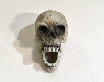 Bisque Skull Cigarette Holder or Ashtray, Halloween, Ca: 1930s.