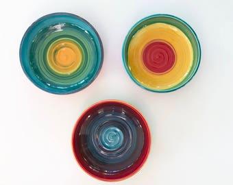 Rainbow Serving Bowl Handmade Pottery