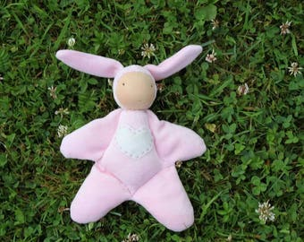 Cuddle doll, Waldorf doll, cloth doll, steiner doll,pink bunny ,baby doll