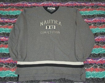 Vintage 90s Nautica Competition Pullover Sweatshirt Size XXL Spellout N83 Baggy Hip Hop Sailing
