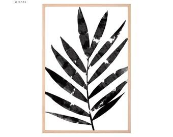 Watercolor Print, Leaf Wall Art, Botanical Print, Abstract Art, Black and White Prints, Minimalist Scandinavian Art, Leaves Printable
