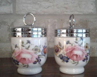 Royal Worcester Bourmouth Ceramic Egg Coddler Made in England Single  Sized Porcelain Pair of 2 Vintage Cooked Eggs Kitchen Ware Collectible