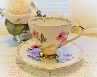 Kent Anniversary Cup and Saucer Pink Daisy  Bone China England