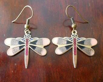 Vintage Pink Enamel Butterfly Earrings by Sea Gems UK, Dangle Earrings in Pink, Black & Red Enamel