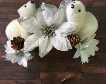 Christmas Headband, Novelty Headband, Winter Crown, White Headband, Polar Bear, Poinsettia, Silver Glitter, Kitsch, Statement Fascinator