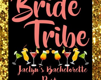Gold Bride Tribe Bachelorette Party - Wine Bottle Label
