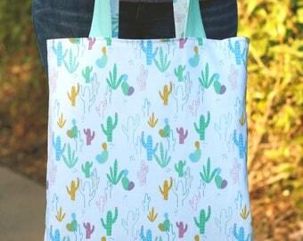Reversible tote bag, cactus tote bag, cactus bag