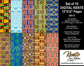 "DIY Set #1 - Printable Digital Kente Recreations - 10 Pages Size 12""x12"" - Digital Download - 4 Zip Files with total of 10 JPEG pages"
