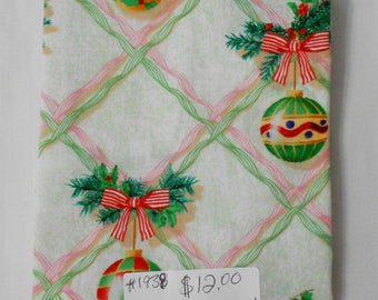 "Fabric - 44"" piece-Christmas/Xmas/Winter-Old Fashioned Pink/Green Ribbons/Holly/Ornaments on Beige/mint Background (#1938)"