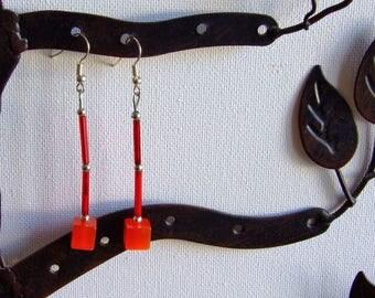 Red stiletto earrings