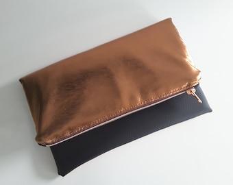 Foldover clutch in copper and black