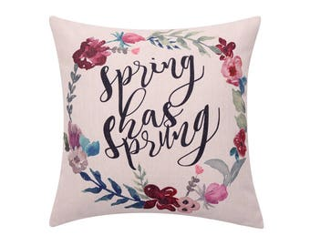Watercolor flower throw pillow covers Spring wreath decorative pillow cases Hello spring quote cushion cover Sofa home decor gift 18 x 18