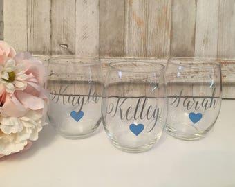 Name wine glass, wine glass with name, custom wine glass, custome stemless wine glass, stemless wine glass, custom stemless wine glass