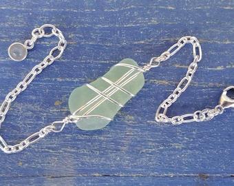 Sea Foam Sea Glass & Sterling Silver Bracelet - Larger Centerpiece