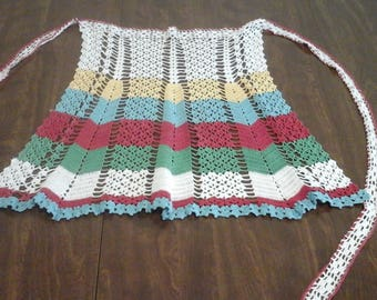 Vintage crocheted apron, from the 1950s.