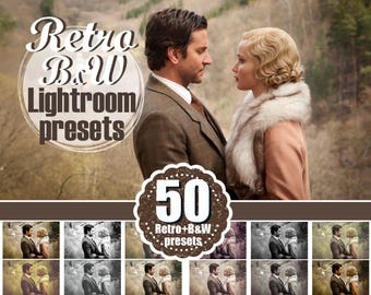 50 retro vintage bw, black and wight Lightroom Presets, romantic, mini session, holiday, Professional Lr presets, presets for photographers