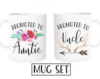 Aunt Uncle Mugs, Promoted to Aunt Uncle, Pregnancy Reveal to Aunt, Pregnancy Reveal to Uncle, Aunt Gift, Uncle Gift, Pregnancy Announcement