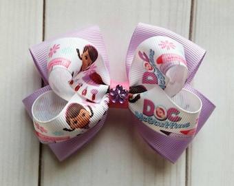 Doc McStuffins Hair Bow/Doc McStuffins Hair Clip/Doc McStuffins Barrette/Character Hair Bow/Disney Hair Bow/Cartoon Hair Bow/Doc McStuffins