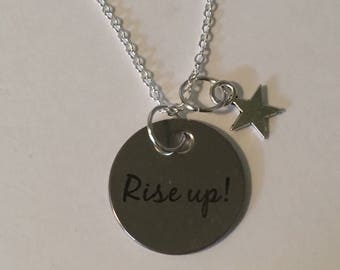 Rise Up hand stamped charm necklace