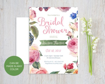 Floral Bridal Shower invitation - Printed