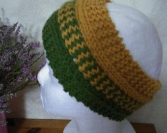 headband hand knitted wool and alpaca olive green and mustard