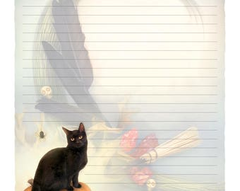 "Digital Stationery Design by Leanne Peters - ""Shadow"" - Halloween Art - Black Cat Art - Lined Stationery Art"