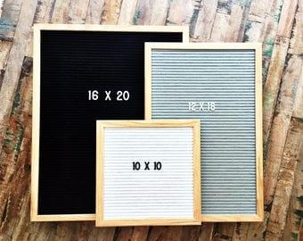 Felt Letter Board|12x18 Oak Frame Letter Board|10x10 Grey Black White Felt Letter Board with Letters|16x20 Felt Message Board|Felt Sign