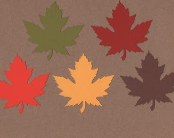 25 - 3 inch Leaf Die Cuts for Paper Crafts Fall Colors Paper Crafts Card Making Set 7025