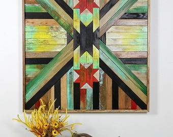 Barn Quilt or Aztec Boho Headboard, Gallery Wall, Reclaimed Wood, Wall Art, Headboard