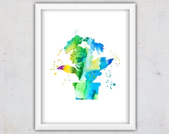 Watercolor Flowers print, Botanical Print, Girl Nursery Print, Instant Download Wall Art Print, Printable Digital Wall Decor, Kids Wall Art