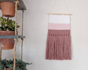 Pink Woven Wall Hanging | Ombre Pink Woven Wall Hanging | Pink & White Woven Wall Hanging | Nursery Decor