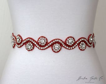 Red Belt, Rhinestone Dress Sash - The Perfect Elegent Wedding Dress Belt