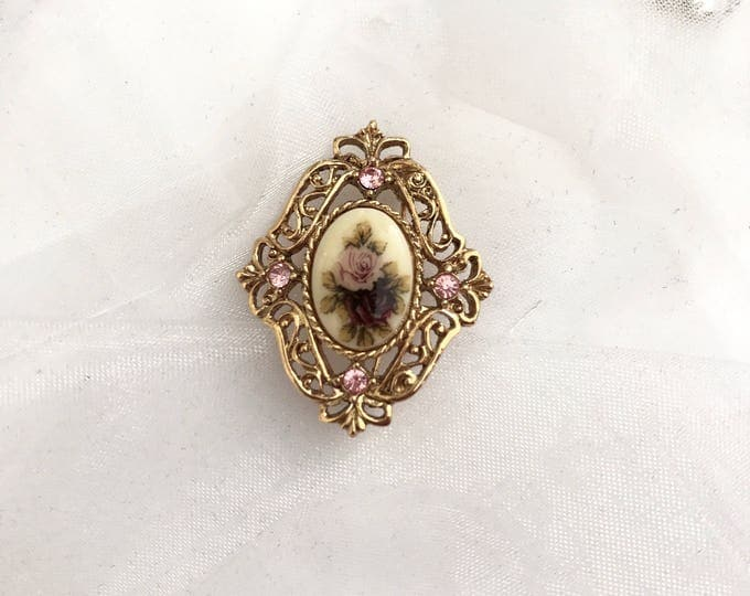 Vintage brooch, pink and gold vintage brooch, bouquet brooch vintage jewelry, vintage gold jewelry