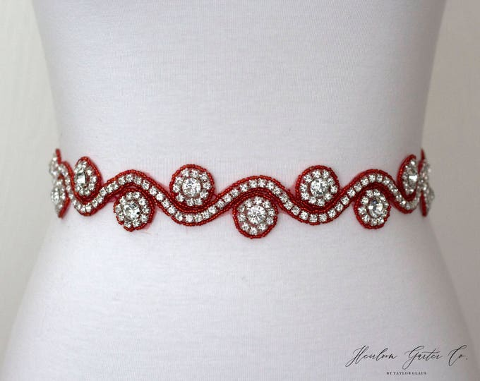 Red Belt, Rhinestone Dress Sash - The Perfect Elegent Wedding Dress Belt