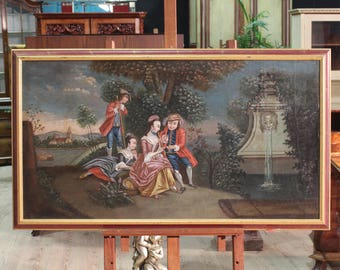 Antique Venetian painting romantic landscape from 19th century