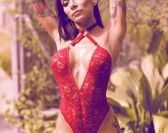 Red Harness bodysuit