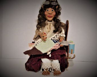 OOAK Art Doll, A Sewing Brownie, Handmade Art Doll ,Polymer Clay Doll by Susan Massey
