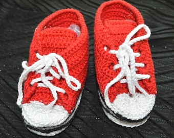 Red Crochet baby shoes Crochet baby booties Baby Boy Shoes Baby Booties for baby 0-3 months baby girl shoes Athletic Shoes Crochet sneakers