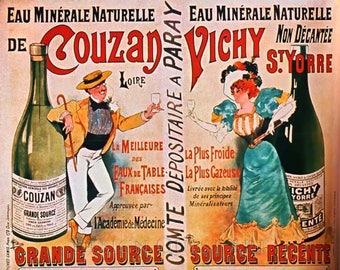 Eau Minerale Naturelle de Couzan Vichy St. Yorre Vintage Advertising Poster Art - Vintage Print Art - Home Decor - French Ad - Mineral Water