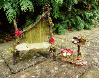 Captivating Fairy Garden Set   Fairy House, Miniature Garden Bench, Garden Fairies,  Dollhouse,