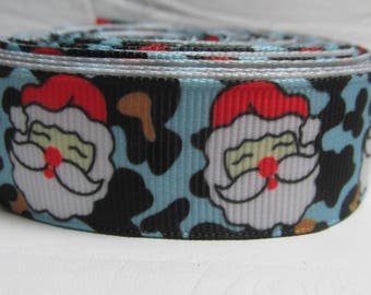 """Grosgrain ribbon 7/8"""" Christmas on blue background sold by the yard"""