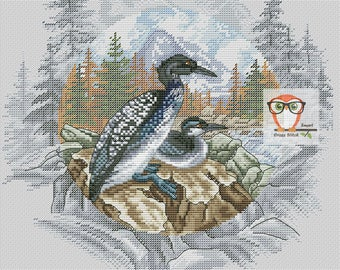 Vintage cross stitch pattern, bird cross stitch pdf, vintage embroidery pattern scenery, cross stitch birds, modern embroidery loon pattern