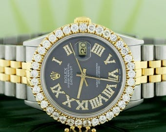 Rolex Datejust 2-Tone Gold/Steel 36mm Jubilee w/Roman Diamond Dial & 2.9Ct Bezel