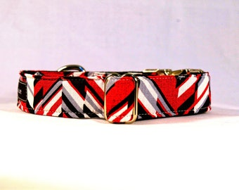 Red and Black Chevron Quick Release Buckle Dog Collar: SILVER or BLACK PLASTIC buckle
