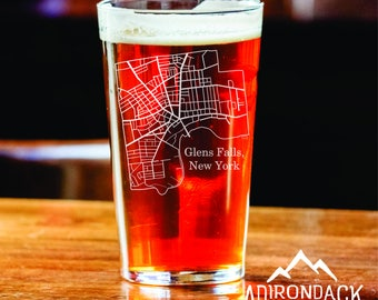 Glens Falls Streets Map - Etched Pint Glass