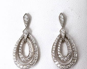 Fine 18ct White Gold Diamond Encrusted Earrings -  Wedding Jewellery - Anniversary - Engagement
