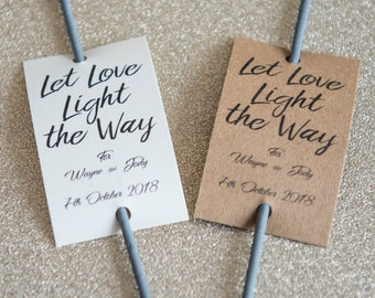 Let Love Light the Way - 20 Personalised Wedding Sparkler Tags