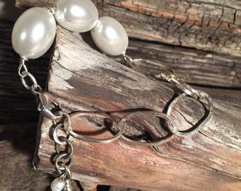 Pearls & Sterling Silver Link Bracelet