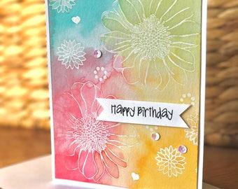 Happy Birthday Embossed Flower Card