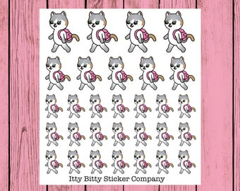 Mauly goes to School - Hand Drawn IttyBitty Kitty Collection - Planner Stickerschool
